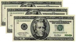 Three twenty dollar bills