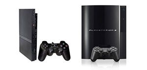 picture of the Sony PlayStation 2 & 3 standing side by side