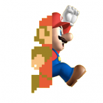 A picture of the digital game character Mario, in which he is represented as half of himself in 8-bit format.